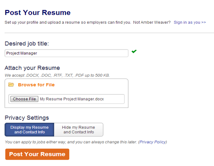 How do I post my resume to my account