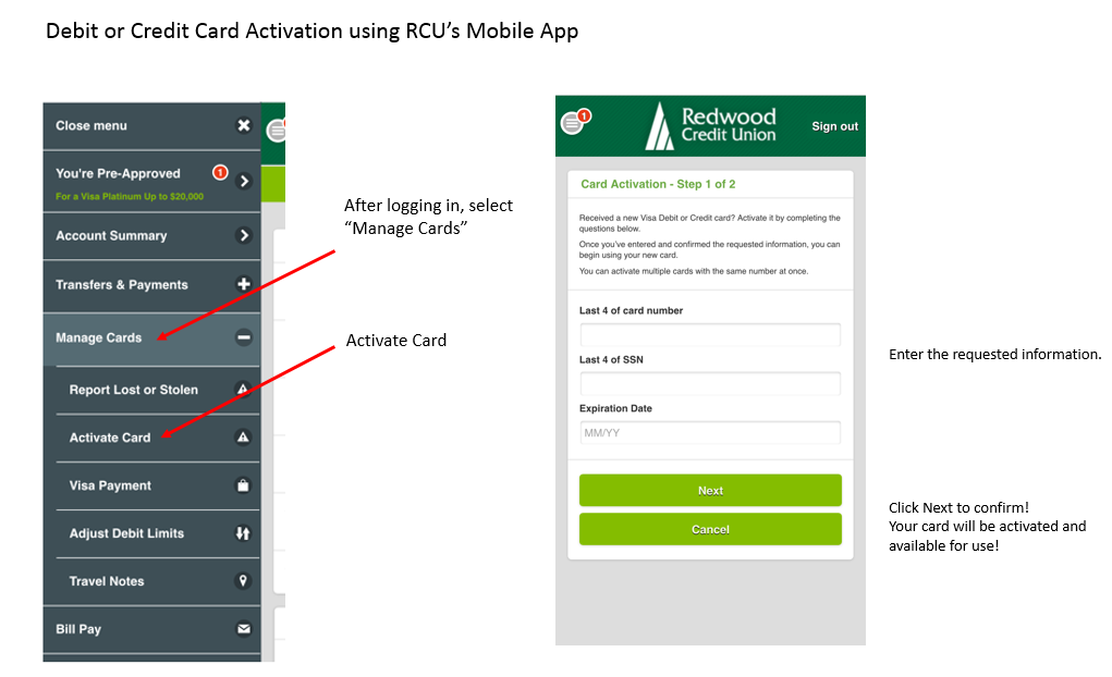 Manage Cards and Activate Card menu and information page in mobile app