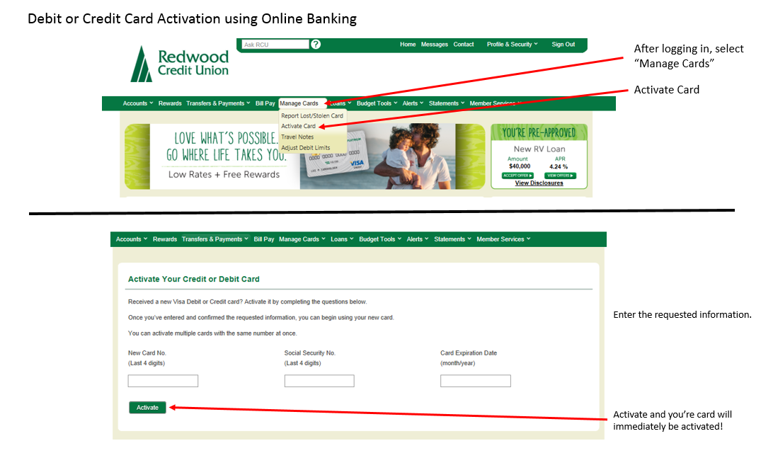 Manage Cards and Activate Card navigation in online banking