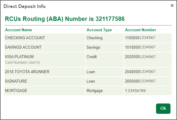 Direct Deposit Info - Show Account Number Page