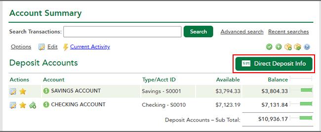 Deposit Accoutns  - Direct Deposit Info Link
