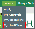 Loans Menu with My FICO Score Link