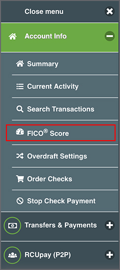 Image of My FICO <sup>&reg;</sup> Score navigation