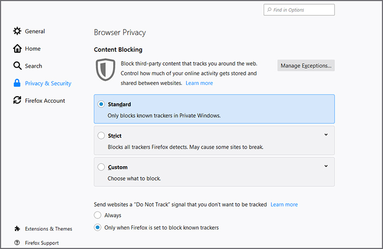 Firefox Privacy Settings