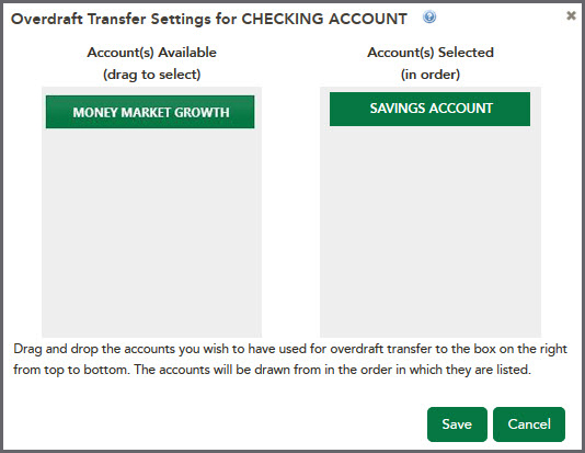 Overdraft Transfer Settings for Checking Account