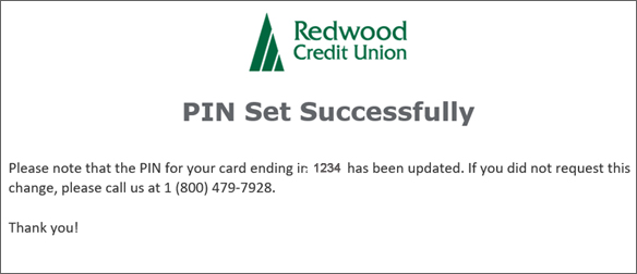 Please note that the PIN for your card is set