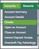 Accounts Menu with Checks selected.