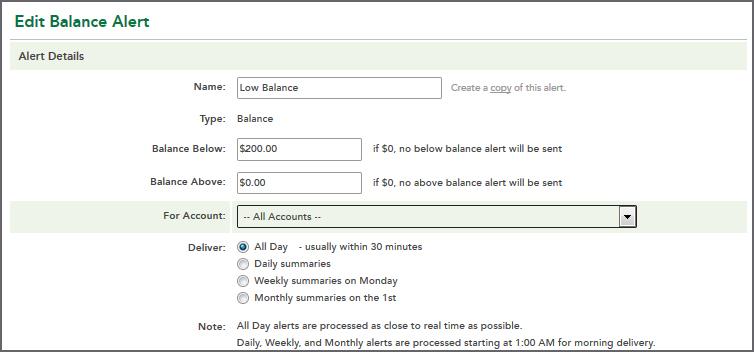 Edit Balance Alert - Alert Details
