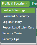 Profile & Security Menu and Profile & Settings