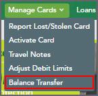 Balance Transfer Menu