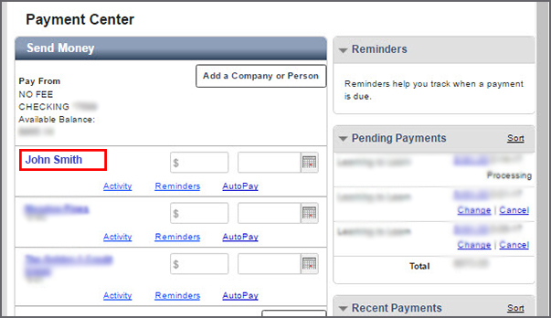 Payment Center Biller Account Example
