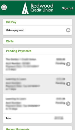 Bill Pay page with pending payments.