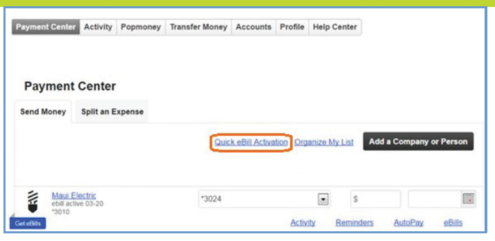 Quick eBill Activation link example