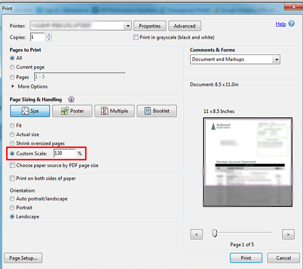 Example of Custom Scale in the Print dialog box.
