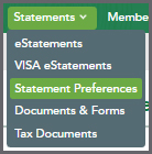 Statments Preferences Menu