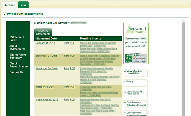 View Account eStatements detail page