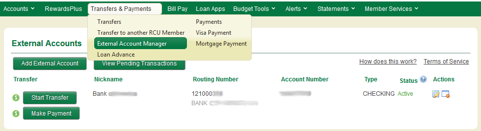 Image of External Account Manager section within Online Banking
