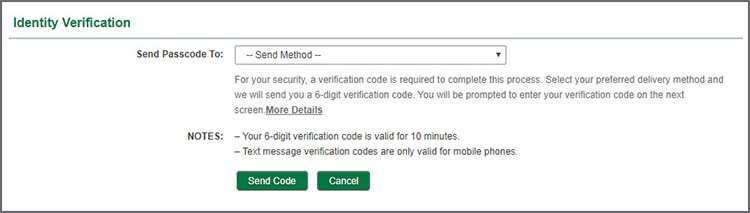 Identity Verification - Send Passcode