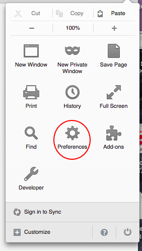 Firefox Preferences Menu