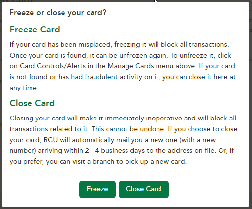 Online Banking Freez Card and Close Card options
