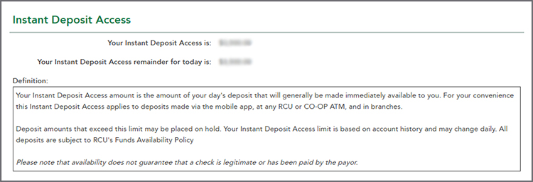 Instant Deposit Access page