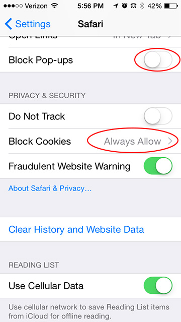 iPhone Safari Settings Block Cookies