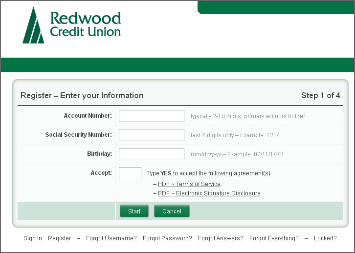RCU Online Banking Sign Up Screen
