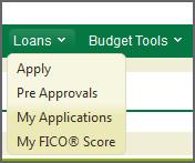 Loans menu in online banking