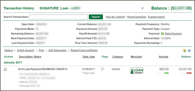 Example of loan detail page.
