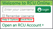 Image of Welcome to RCU Online banking login