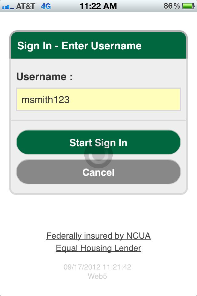 Entering Username