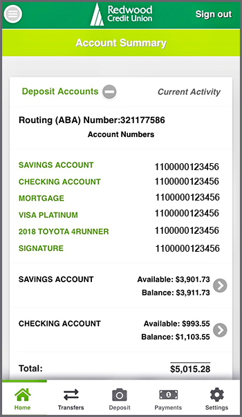 Account Number display in the mobile app