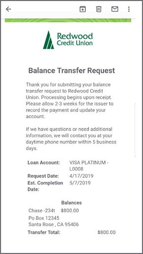 Balance Transfer Request