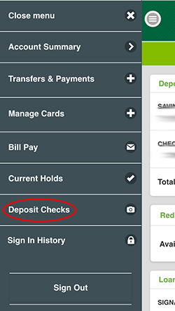 Deposit Checks circled in Mobile Navigation
