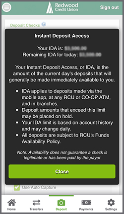 Instant Deposit Access Information