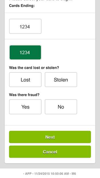 Step 1 - Report a Card Lost or Stolen Questions