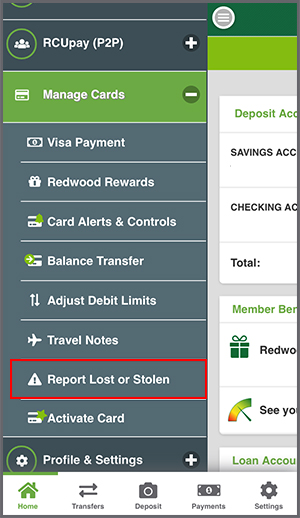 Manage Cards - Report Lost or Stolen