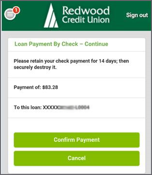 Loan Payment By Check Confirm Payment