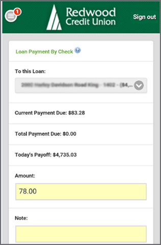 Loan Payment by Check Deposit Page