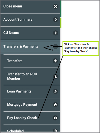 Transfers & Payments > Pay Loan by Check Navigation Image