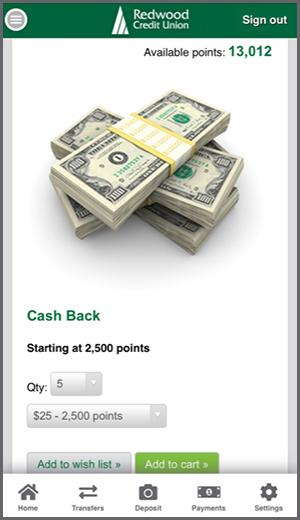 Redwood Rewards Cash Back Select Amount