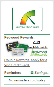 Image of Account Summary with Redwood Rewards in Sidebar