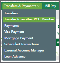 Transfers & Payments - Transfer to RCU Member