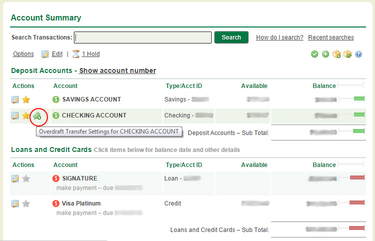 Account Summary page which display Overdraft Transfer Settings icon