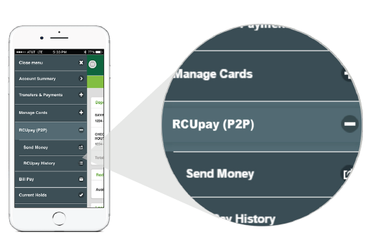 RCUpay (P2P) shown in the mobile menu.