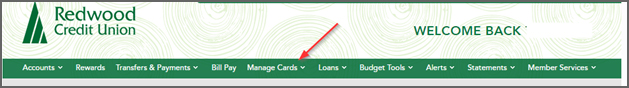 Online banking menu select Manage Cards