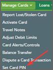 Set Card Pin in drop down menu