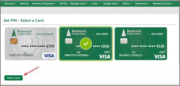 Set PIN - Select a Card