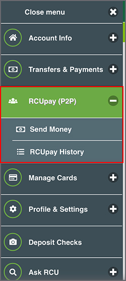 RCUPay (P2P) in mobile menu.