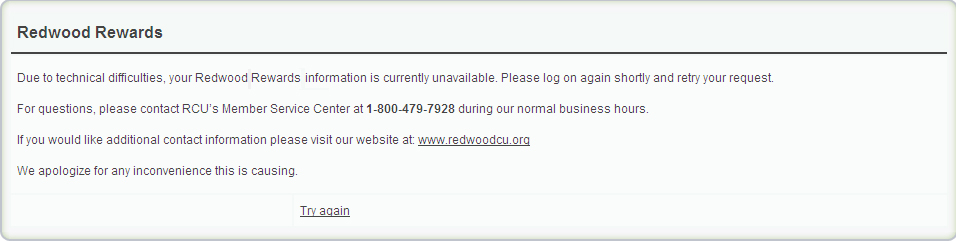 Redwood Rewards technical difficulties